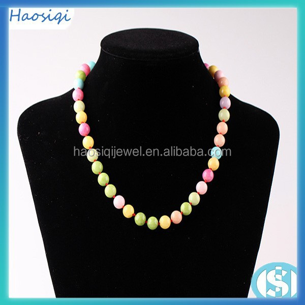 10 mm multi colored jade beaded fashion necklace