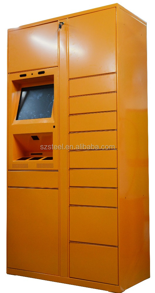 Smart self-service parcel locker cabinet, electronic barcode/PIN code parcel locker