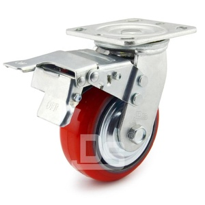 Swivel Rigid Locking Heavy Duty Industrial Trolley PU Caster Wheel with Brake