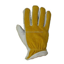 Cowhide driver glove with grain palm/split back, cotton fleece lined