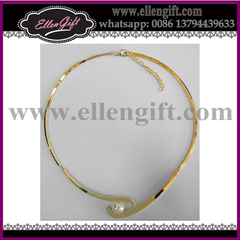 Choker Gold Chain Necklace With Pearl