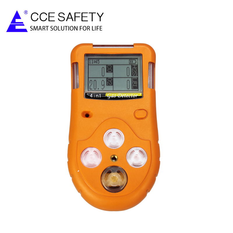 4 in 1 gas detector monitor with alarm data logging for CO CH4 H2S O2 for personal security