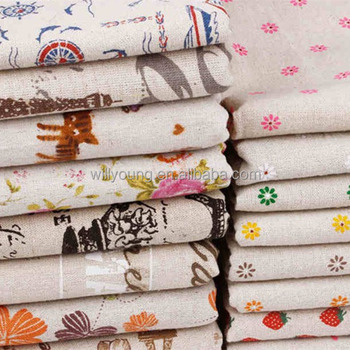 cotton linen fabric 85% linen 15% cotton mix knit fabric print fashion patterns for tote bag shopping bag hotel curtain