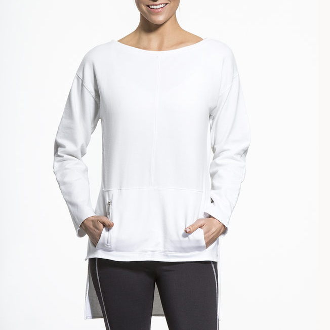 Hot sale fresh and bright white sliming stretchy women long sleeve t shirt