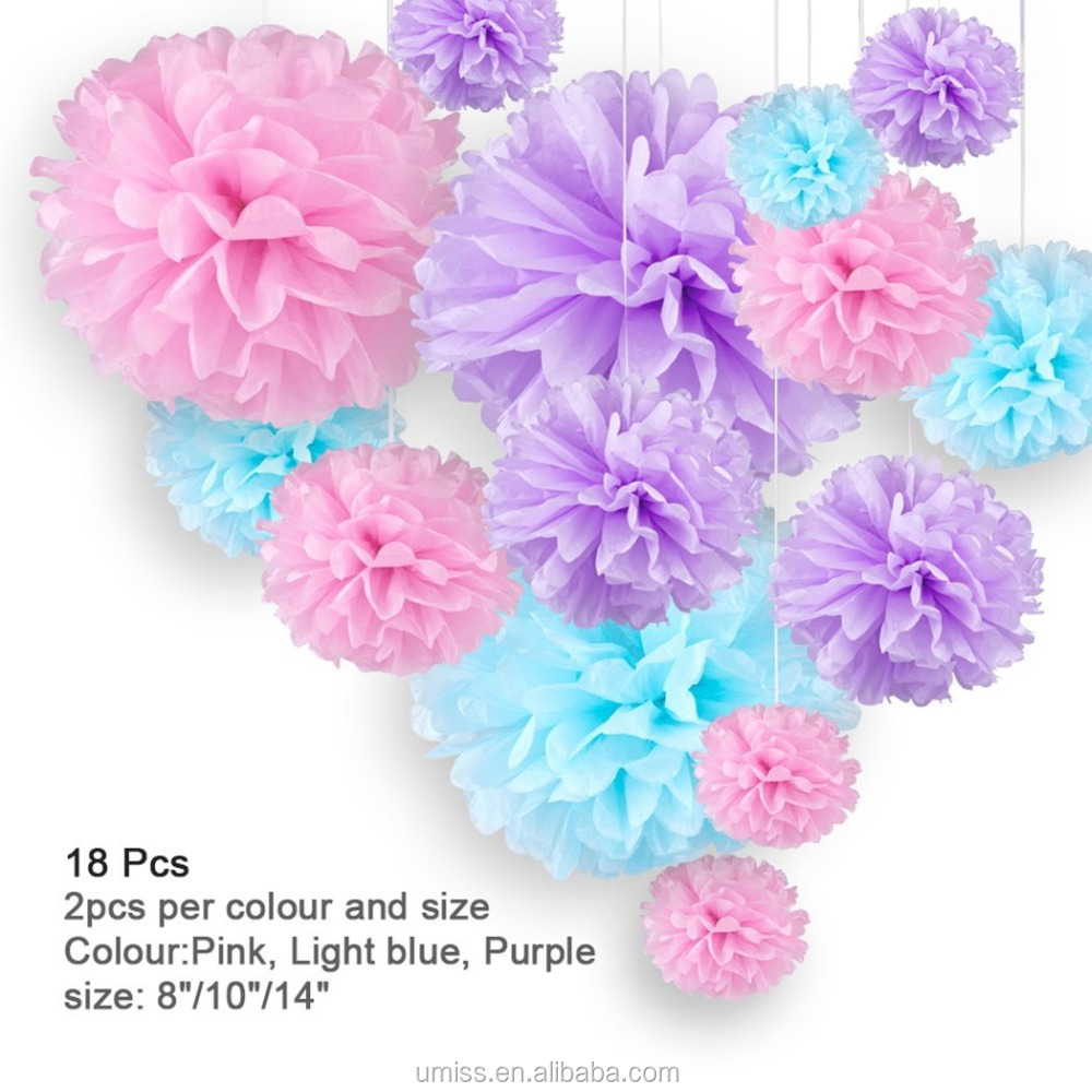 18pcs Light Blue,Purple, Pink Artificial Tissue Paper Flower Hanging Decoration