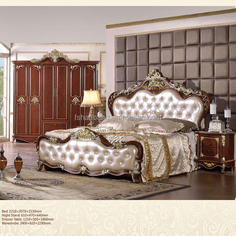 Cheap Wholesale White Brown Classic French European Style Antique MDF Wooden 5 pieces Bedroom Furniture Set