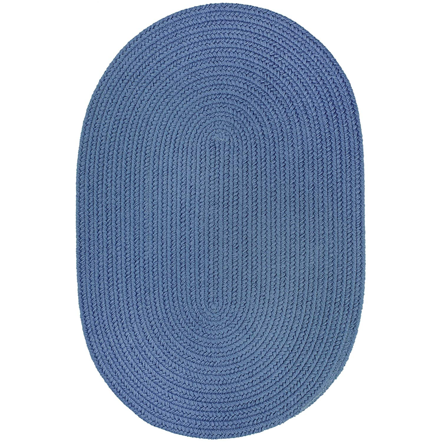 Super Area Rugs Maui Braided Rug Indoor Outdoor Rug Washable Reversible Blue Patio Porch Kitchen Carpet, 10' X 13' Oval