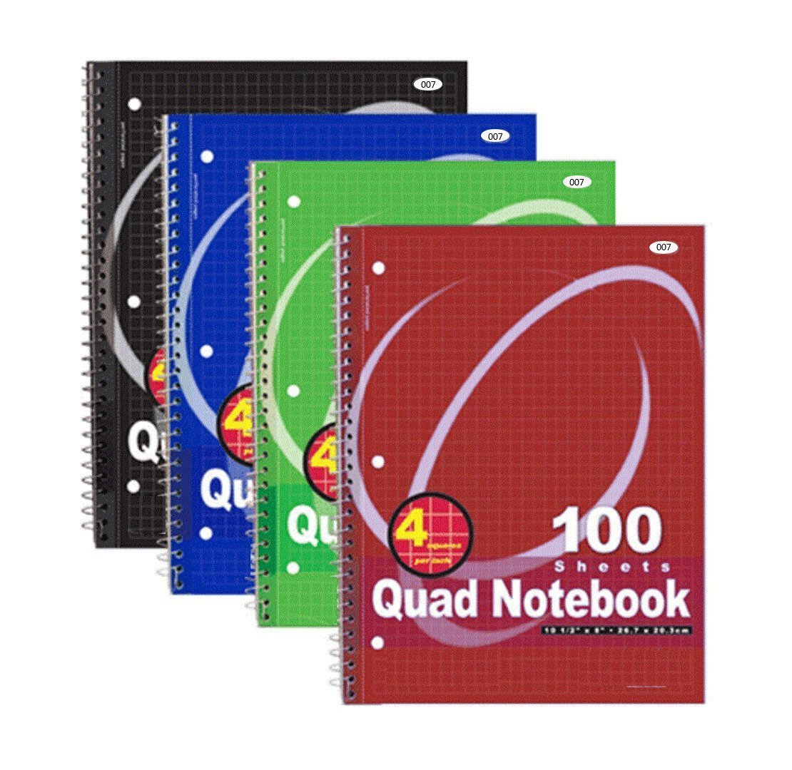 Red 10-1//2 x 7-1//2 1 Subject 100 Sheets Quad Ruled 05676AB5 Mead Spiral Notebook