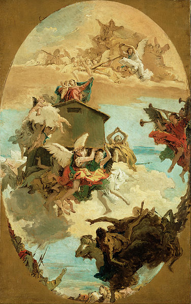 Canvas Art Prints Stretched Framed Giclee Famous Oil Painting Giovanni Battista Tiepolo <font><b>Italian</b></font> Miracle Of Holy House Of Loreto