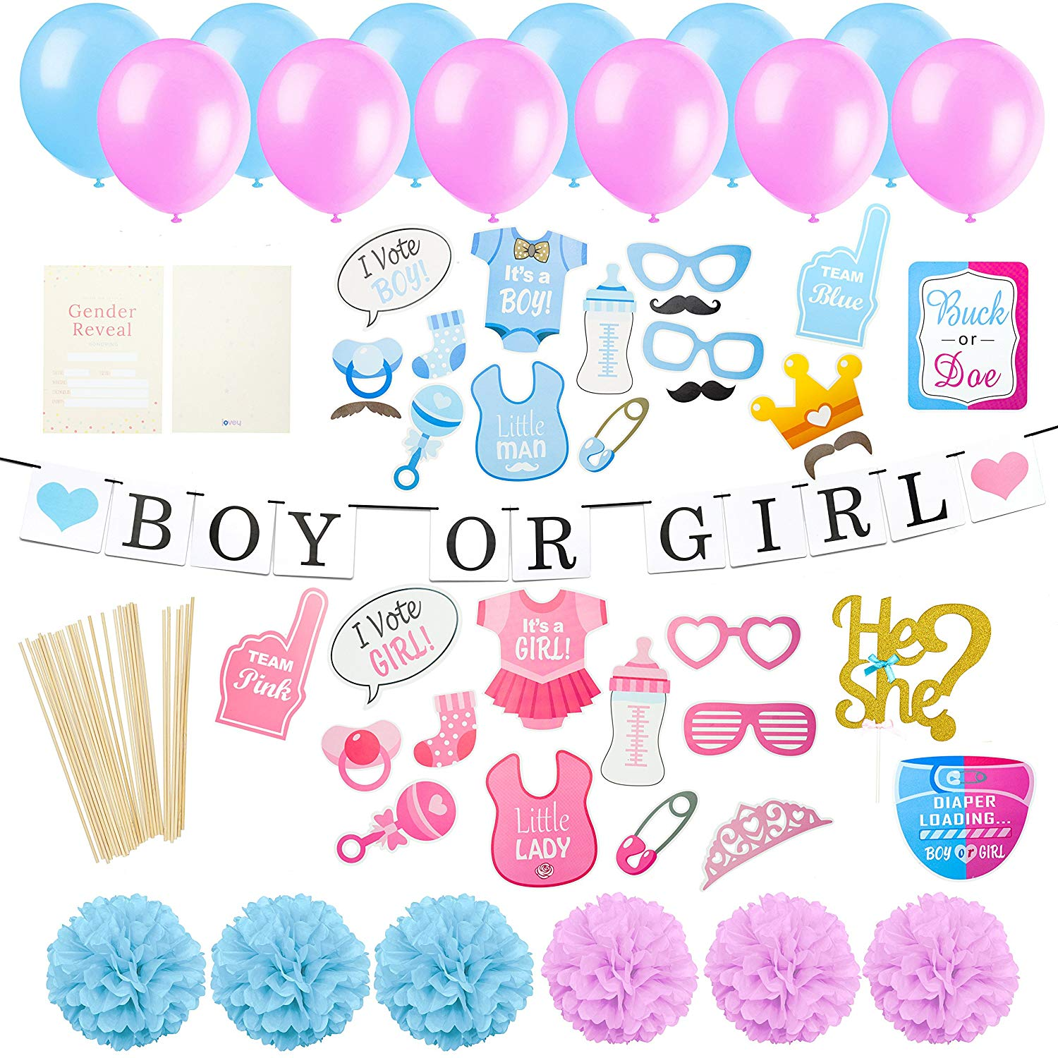 Gender Reveal Party Supplies Kit | Baby Shower Decorations | Pre-Strung Boy Or Girl Banner | 20 Invitation Cards | 30 Pieces Photo Booth Props | 1 Cake Topper | 70 Pieces