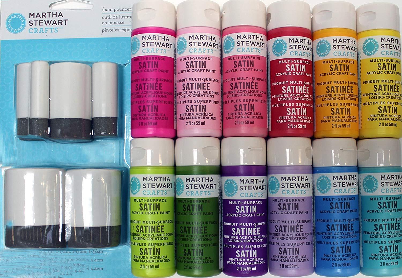 Martha Stewart Crafts Multi-Surface Satin Acrylic Craft Paint Set, PROMO854 Spring (12 Colors)