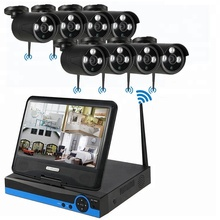 8CH CCTV Wasserdichte LCD monitor <span class=keywords><strong>home</strong></span> sicherheit <span class=keywords><strong>Wireless</strong></span> IP Kamera Wifi Nvr system