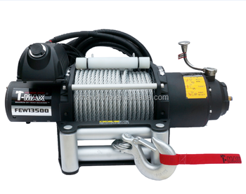 t-max 13500 lbs 12v electric industrial winch for truck fire work