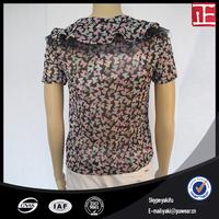 Cuffed cap sleeve silk women's short sleeved formal blouses