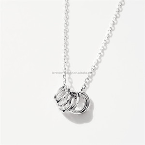Newest design 6pcs rings charm necklace pure s925 chain necklace for gift