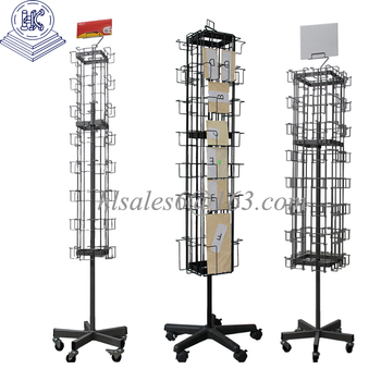Rotating greeting card display stand rack