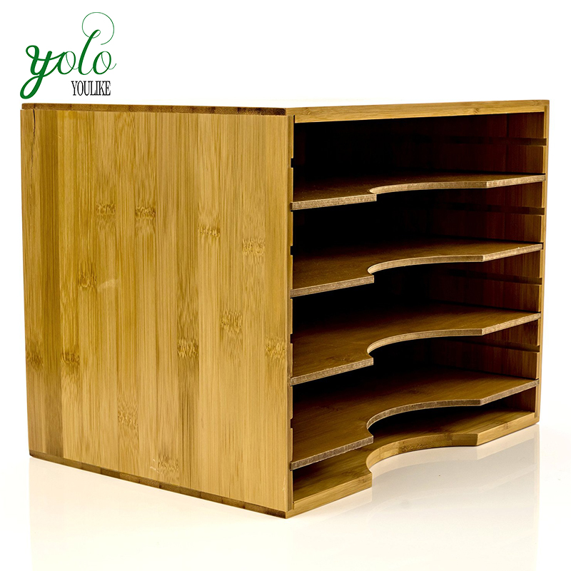 Adjustable Office 5 Tier Wood Bamboo File Organizer, Paper Sorter With 4 Dividers