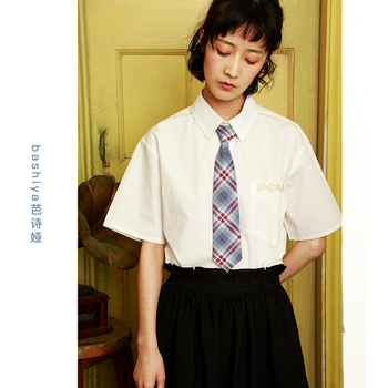 Japanese Women formal Necktie White Blouses Embroider Cotton Casual Shirt Office Ladies Tops JK Female Clothing