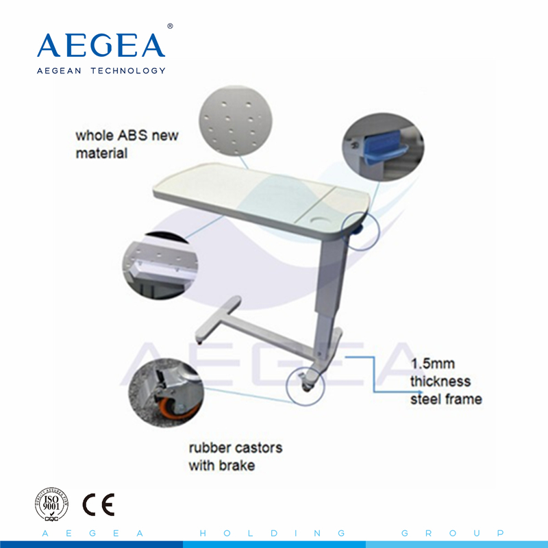 AG-OBT002 CE ISO have wheel adjustable plastic bedside <strong>medical</strong> overbed <strong>table</strong>
