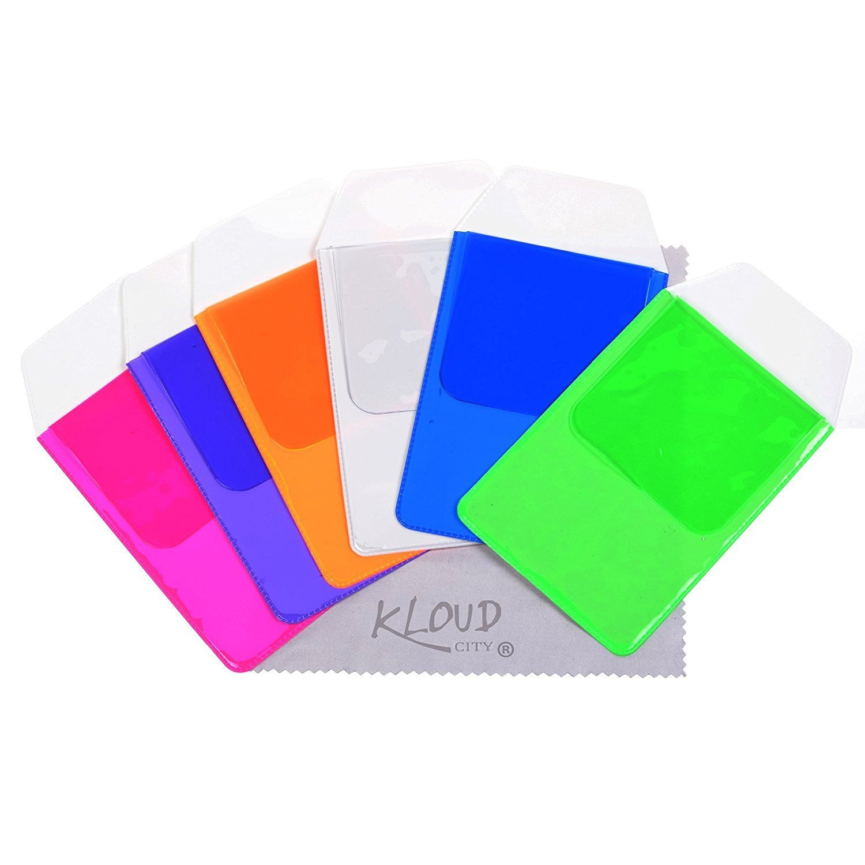 KLOUD City Assorted Colors Pocket Protector for Pen Leaks (Blue#light green#Hot pink#Purple#Orange#Clear)