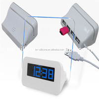 Promotion Gift Items Blue LED Color White LCD Calendar Clock Digital Alarm Clock