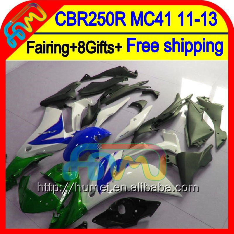 8Gifts For HONDA Injection CBR250R Blue white MC41 11-13 61HM27 CBR 250R CBR250 R 11 12 13 2011 2012 2013 Green white Fairing