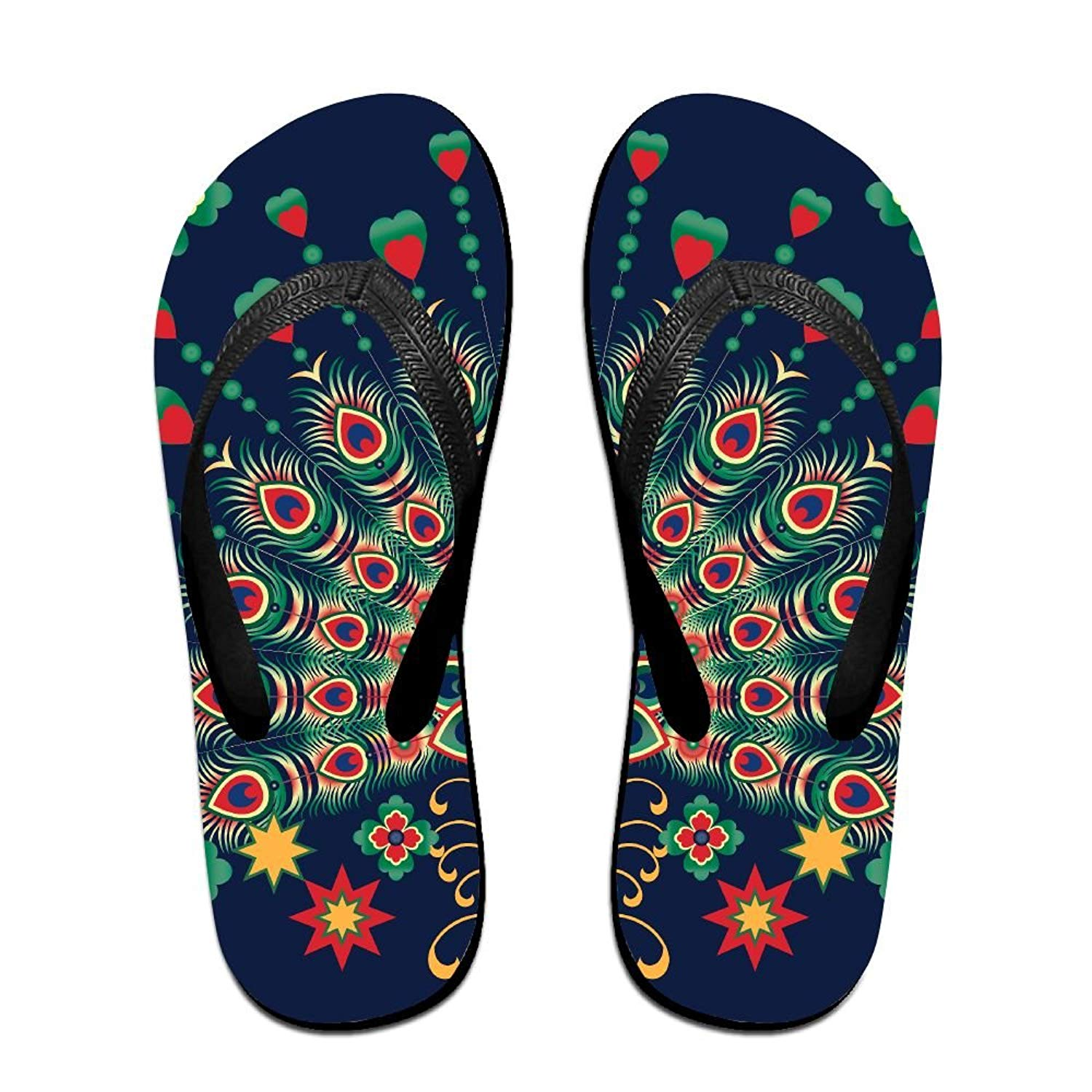 8fc37ac7d Get Quotations · Beautiful Shiny Peacock Fun Flip Flops Thong Sandals,  Beach Sandals, Casual And Comfortable Sandals