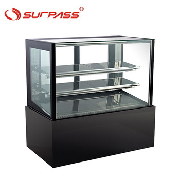 Commercial Black Marble Base 2 Shelves Glass Cake Showcase