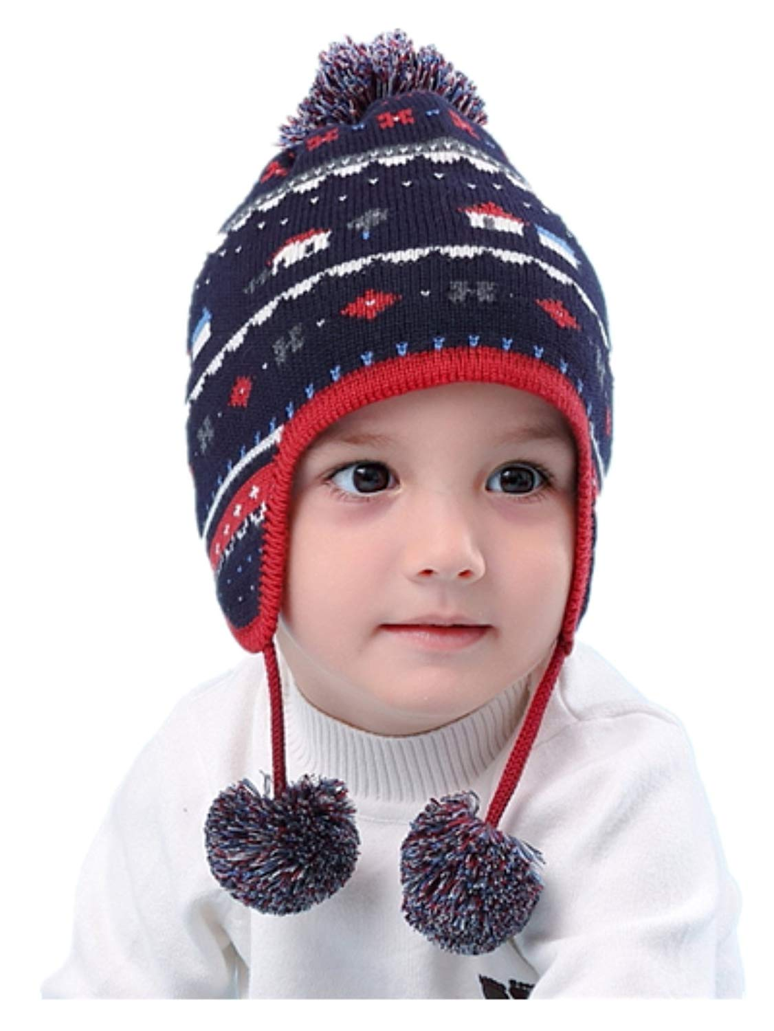 2a3a6dfa Get Quotations · LLmoway Baby Toddler Infant Knit Hat Earflap Beanie Cotton  Hat Warm Pom Cap