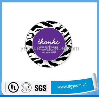 Custom wholesale round plastic stickers printing full color hard plastic sticker