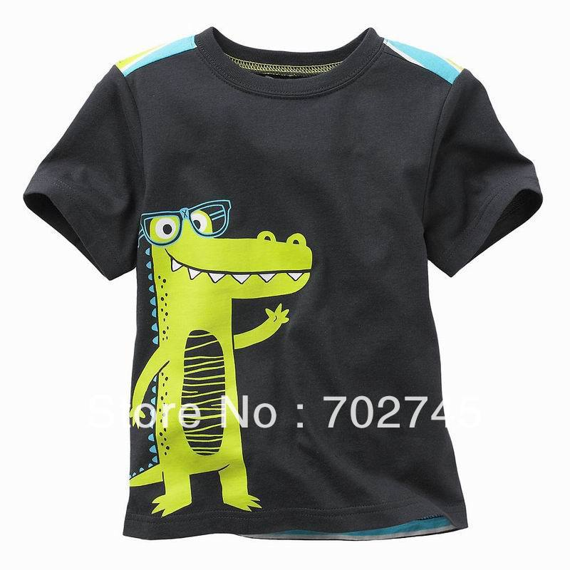 Boy T shirts Kids Clothes 5919 Dino Black Cartoon Cotton Short Sleeve T shirts For Boy