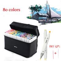 80 Colors Dual Tips Permanent Marker Pens, Alcohol Based Markers Colored Artist Drawing Marker Set with Carrying Case