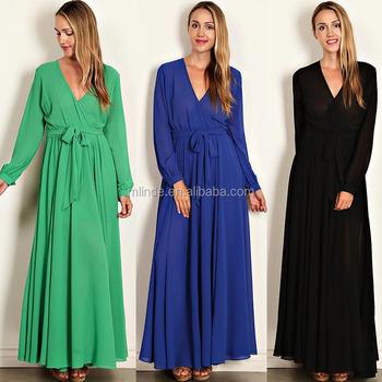100% Polyester Solide Écharpe Tissée Corsage Musulman À Manches Longues Maxi Robe D'été 2017 Avec Ceinture À Nouer Buy Robes D'été Longues Et