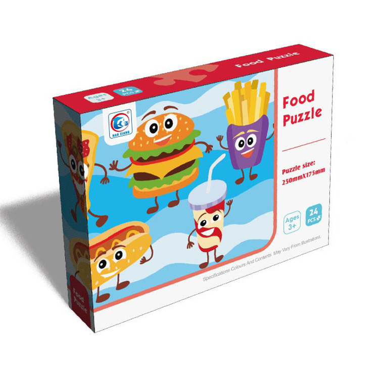 Custom Most Popular Toys Paper 24 Pieces Food Games Puzzle Jigsaw