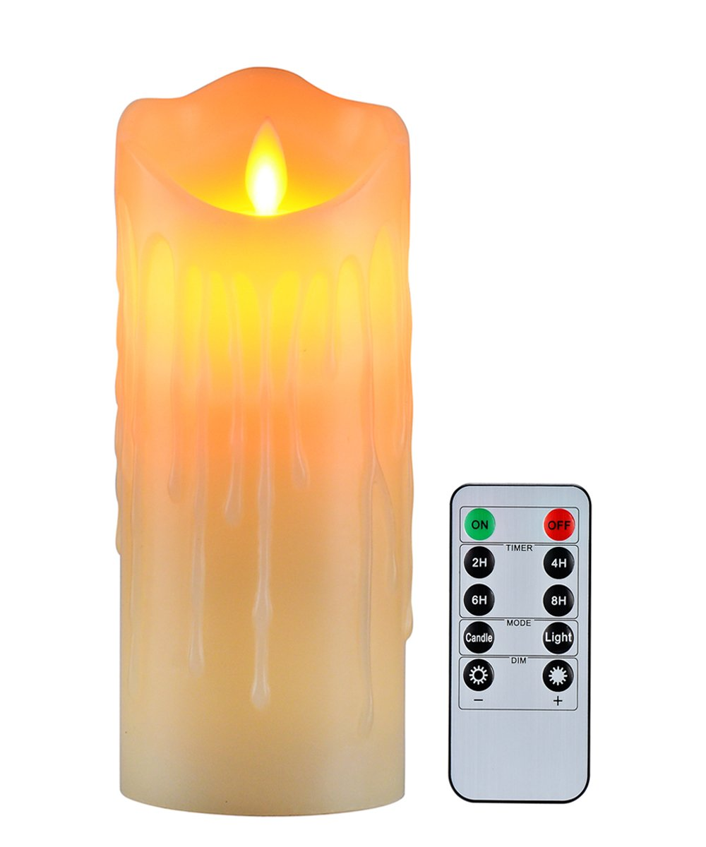 "Flameless Candles with 10 Key Remote Timer Flickering Tear Wave Shaped Tealight Size 3"" 4"" 5"" 6"" 7"" 8"" Real Wax Simulate Dripping led Candles Battery Operated Safe for Indoor Outdoor Decor (3""x7.9"")"