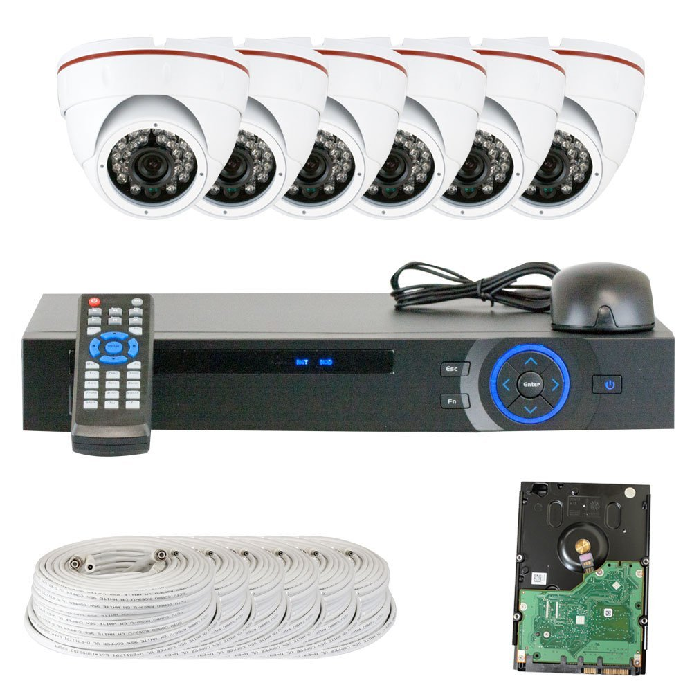 Best Sale High End Professional 8 Channel HD-CVI DVR Security Camera System with 6 x 1/2.9 HDCVI Color IR CCTV Security Camera, 1.0Mega pixel Color CMOS, 3.6mm Lens, 24PCS Infrared LED, 49 feet IR distance. 1080p real time preview, 720P realtime recording. iPhone, Android Viewing. Network live,