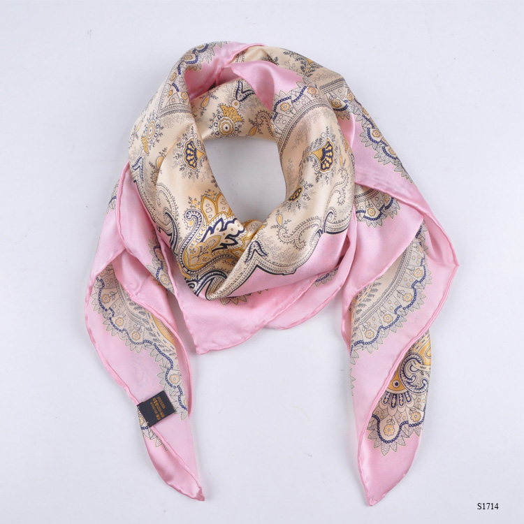 TOROS Women 100% Silk Plain Pink Scarf