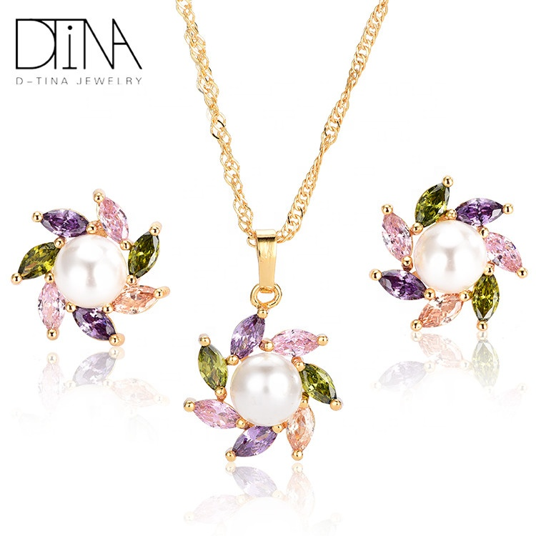 DTINA 2019 trends kids jewelry sets with pearl ladies necklace and necklace sets, Gold color