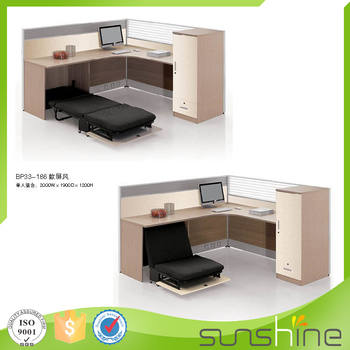 Single Office Desk With Partition Practical Design With Wire Management And  Folded Bed China Manufacturers