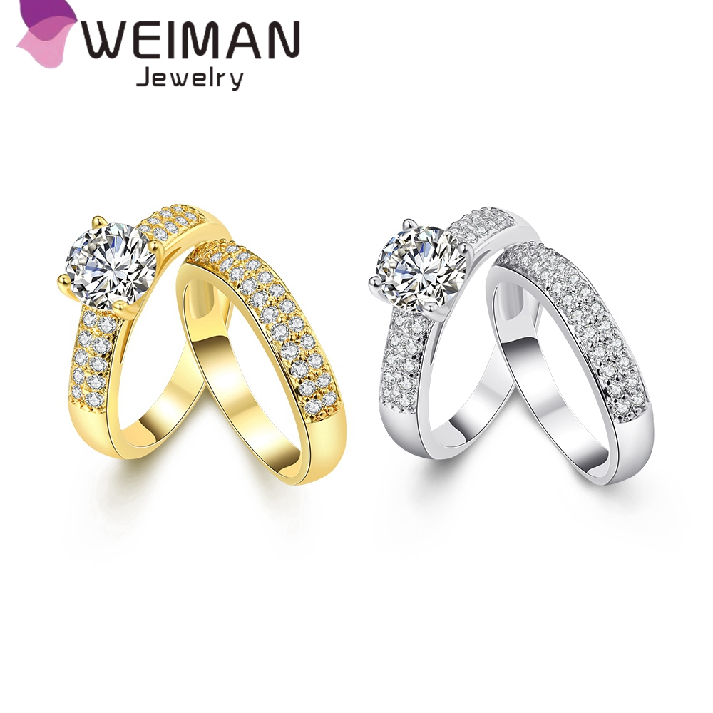 Fashion engagement wedding ring jewelry,gold and Platium plated zirconia engagement and wedding ring set women