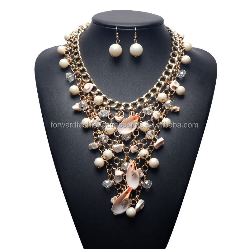 fashionable immitation shell women costume jewelry set, trendy cheap cluster pearl necklace