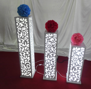 Customized Elegant Lighted White Wedding Aisle Flower Stands