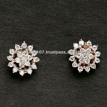 Small Flower Shaped Diamond Earring Drop At Reasonable Price