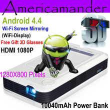 Quad Core Android4.4 Power Bank Mini Portable DLP Projector Wi-Fi DLNA Business Home Theater Wireless Display Free shipping
