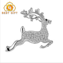 3D Smart Sika Deer Shaped Diamond Crystal Sliver Brooch Pin