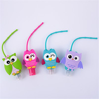 Promotional gift cartoon empty owl pattern silicone cute waterless hand sanitizer holders for outdoor