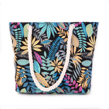 Ladies Canvas Tote Daily Shopping Bag Multi Leaf Animal Print Book Handbags For Girl