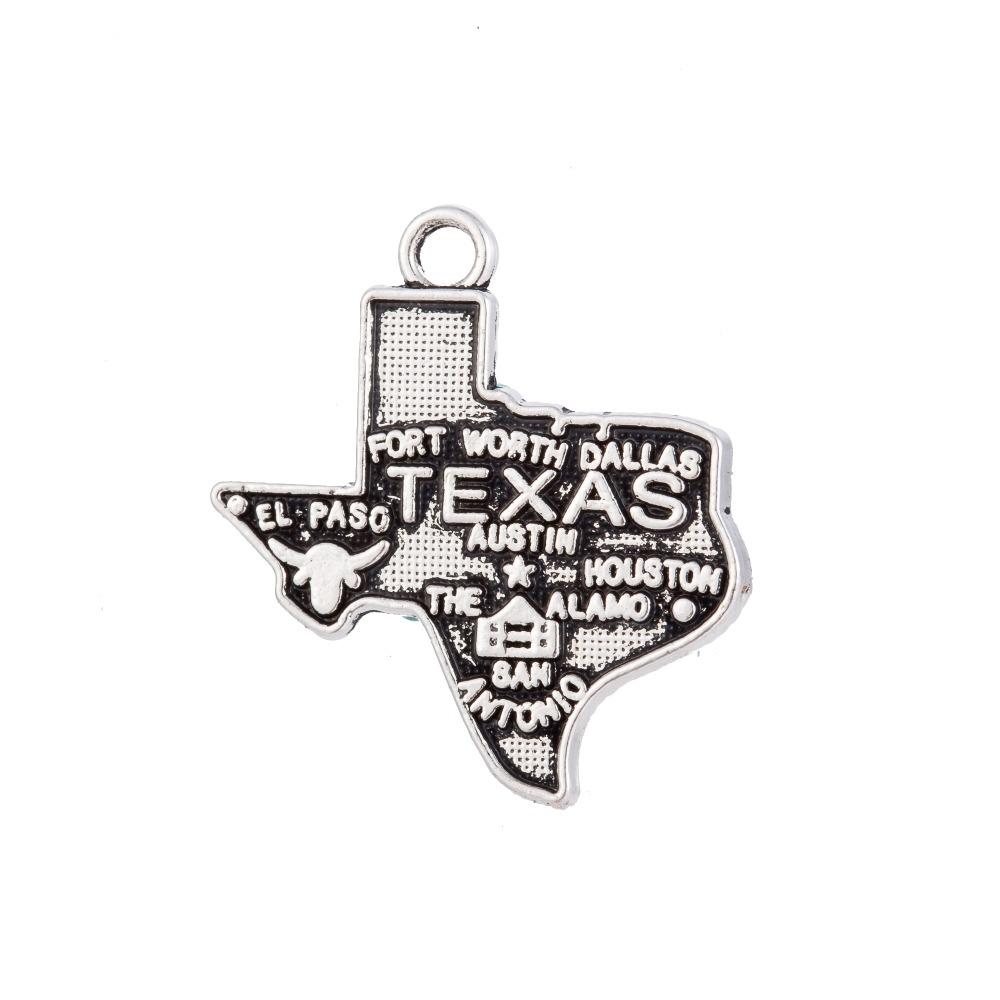 wholesale fashion jewelry TEXAS map <strong>charm</strong> for necklace or bracelet making