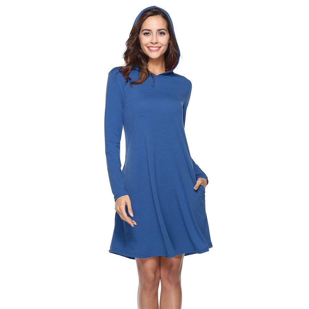 ab2b7f1143a Get Quotations · Womens Dresses Clearance Sale! Women's Hooded Solid  Pullover Long Sleeve Loose Maxi Dress Pocket