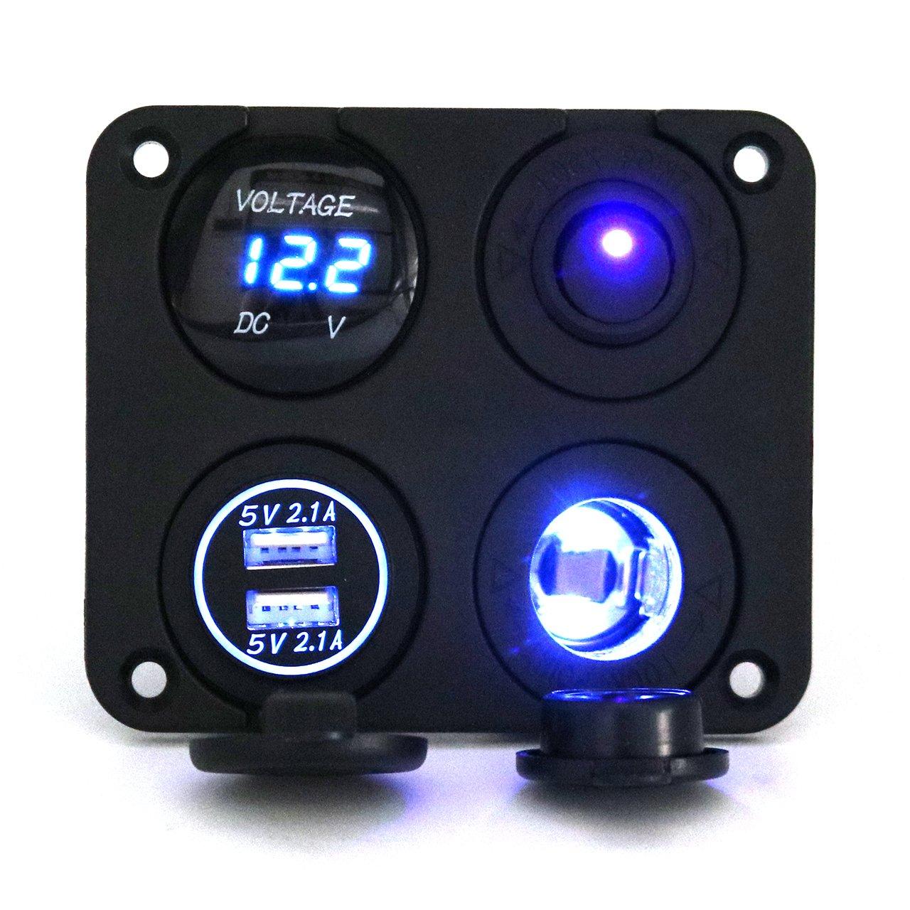 Cheap Led Rocker Switch Wiring Find Deals 12 Volt Round On Illuminated Get Quotations Panel Ausdin Light Bar Dual Usb Socket 42a